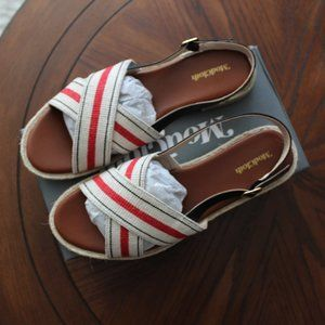 ModCloth Red & White Striped Charm Crossing Sandal